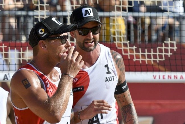 Doppler/Horst bei der Beach-Volleyball WM in Wien.