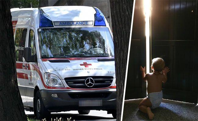Ein Baby stürzte in Wien-Floridsdorf aus einem geöffneten Fenster.