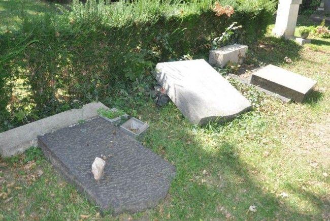 Einige der betroffenen Gräber am Zentralfriedhof