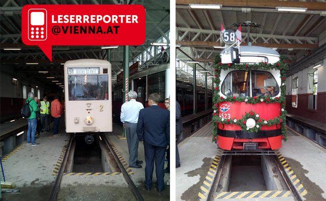 Bei der Abschiedsfeier der Wiener Straßenbahnlinie 58.