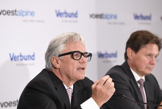 Der Vorstandsvorsitzende der voestalpine AG - Wolfgang Eder (L.) und der Vorstandsvorsitzende der Verbund AG - Wolfgang Anzengruber.