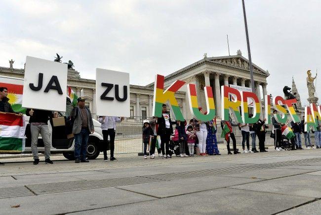 Bei der Demonstration vor dem Wiener Parlament.