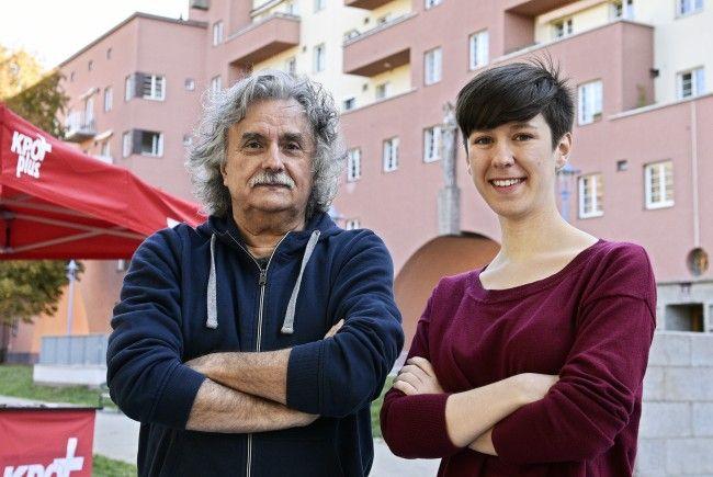 Die KPÖ-Plus-Spitzenkandidaten Mirko Messner und Flora Petrik