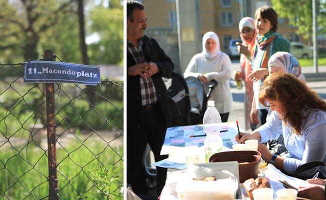 """Gemeinsam mit Bewohnern der Flüchtlingssiedlung gestaltete """"Architektur ohne Grenzen"""" den Macondoplatz."""