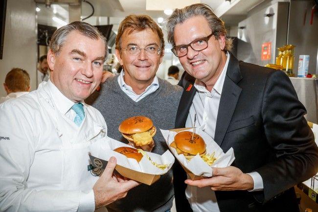 Toni Mörwald, Hannes Jagerhofer und Andreas Schwerla bei der McDonald's-VIP-Eröffnung
