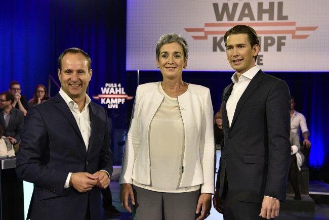ÖVP-Chef Sebastian Kurz war Montagabend gegen Matthias Strolz (l.) und Ulrike Lunacek (m.) im Einsatz.