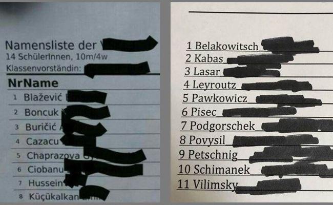 Links die Liste der FPÖ, recht die von Florian Klenk.