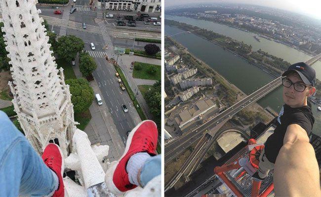 Der junge Roofer Sky Joker liebt es, wenn ihm die Stadt zu Füßen liegt