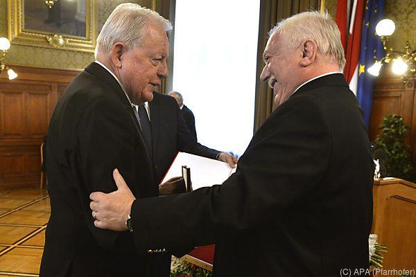 Vranitzky wurde von Bürgermeister Häupl geehrt