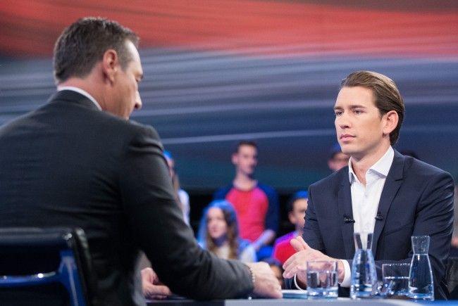 Sebastian Kurz (r.) und Heinz-Christian Strache standen sich am Dienstag im ORF-Duell gegenüber.