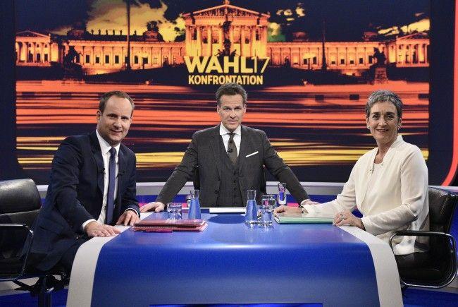 (v.l.), NEOS - Spitzenkandidat Matthias Strolz, Moderator Tarek Leitner (ORF), Grünen- Spitzenkandidatin Ulrike Lunacek