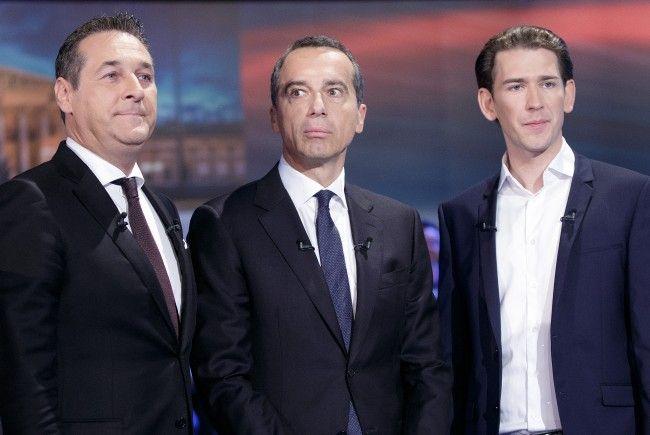 vlnr.: FPÖ-Chef Heinz-Christian Strache, Bundeskanzler Christian Kern (SPÖ) und ÖVP-Chef Sebastian Kurz schenkten sich im Wahlkampf teilweise nichts