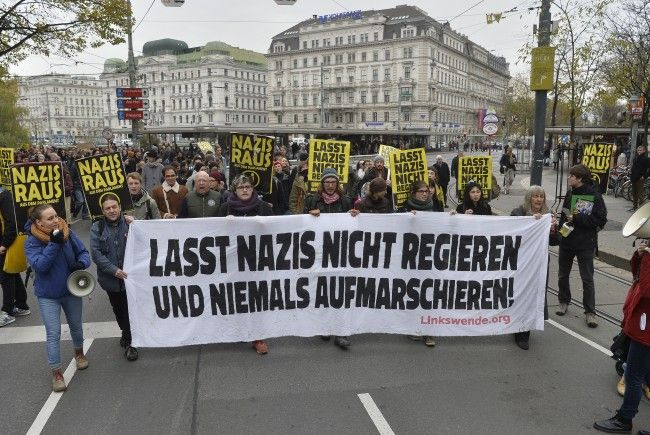 Bei der Demonstration in Wien