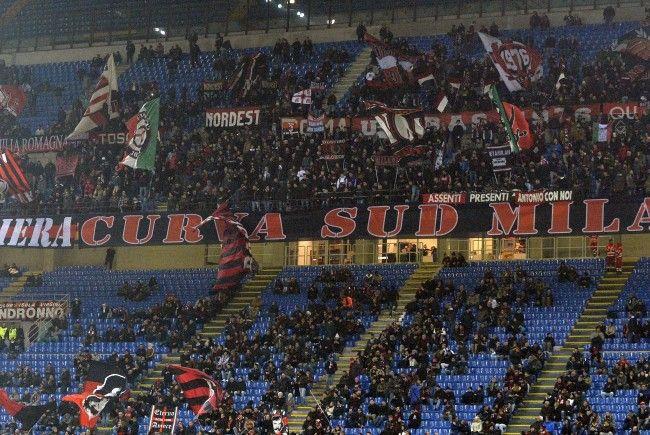 Im San-Siro-Stadion beim Spiel der der Austria Wien gegen AC Milan