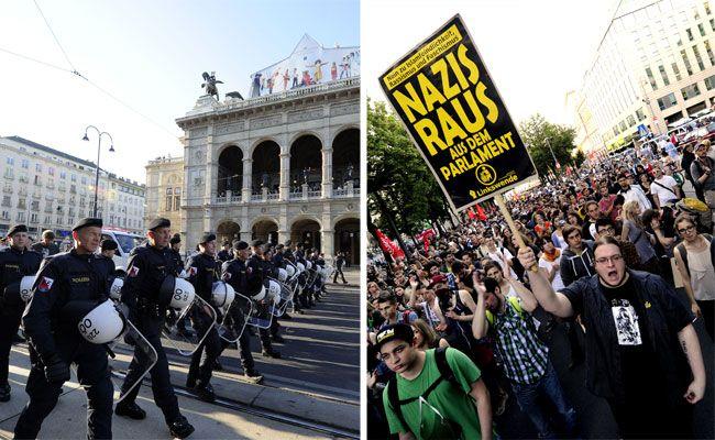 Ein Protest gegen die Angelobung von FPÖ-Burschenschaftern im Parlament findet am Ring statt