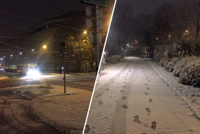 Der erste Schnee in Wien.