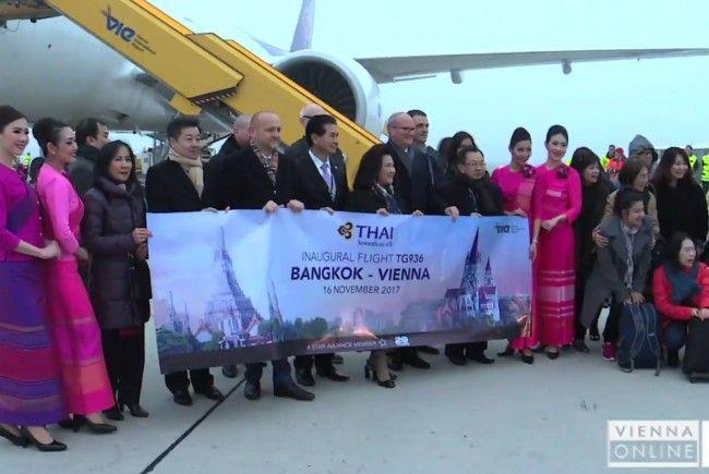 Maschine der Thai Airways landete erstmals seit 30 Jahren in Wien