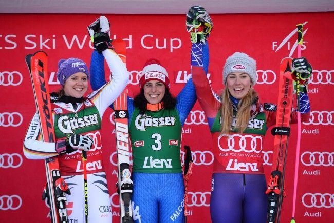 Das Podest beim Weltcup-Riesentorlauf der Damen in Lienz 2017.