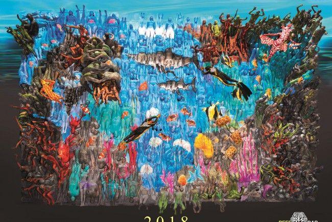 Ein Bodypaintbild ist das Titelbild des Kalenders.
