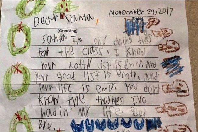 Diesen Brief schrieb ein sechsjähriger an den Weihnachtsmann.