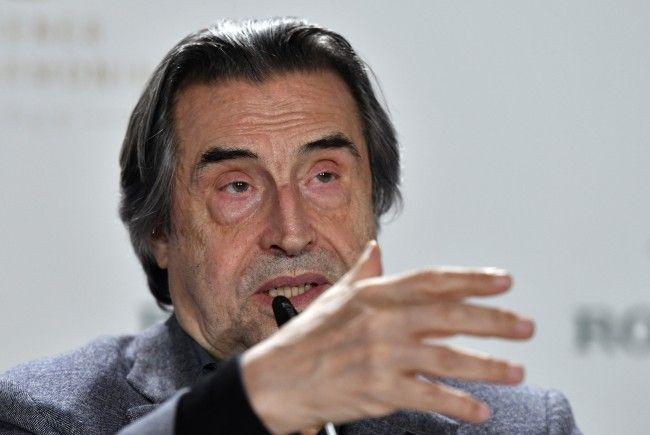 Dirigent Riccardo Muti bei der Pressekonferenz vor dem Wiener Neujahrskonzert 2018.
