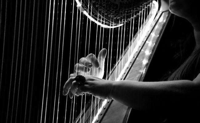 Die Besucher erwartet ein klassisches Konzert mit zartem Geigenspiel und entspannenden Harfenklängen.
