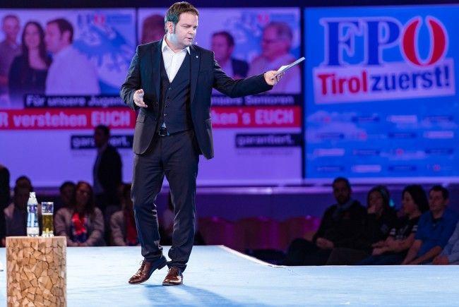 FPÖ-Spitzenkandidat Abwerzger beim Wahlkampfauftakt in Tirol.