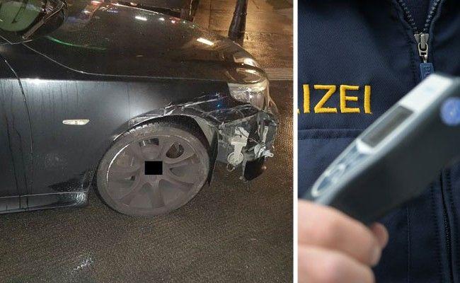 Der Alkolenker versuchte mit seinem beschädigten Fahrzeug zu flüchten.