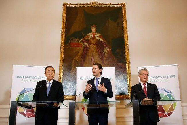 Sebastian Kurz und Heinz Fischer eröffneten das Ban Ki-Moon Center in Wien.