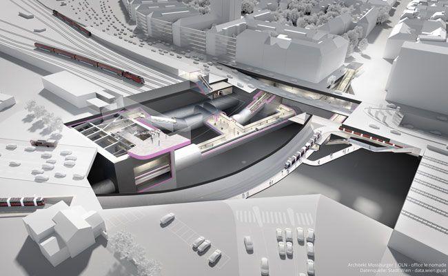 Eine 3D-Visualisierung der zukünftigen U2-Station Matzleinsdorfer Platz