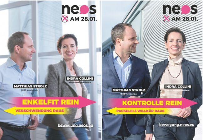 Matthias Strolz und Indra Collini auf den Plakaten für die Landtagswahl in Niederösterreich.