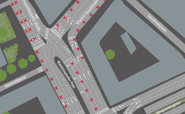 Die geplanten dauerhaften Einschränkungen für den Kfz-Verkehr im Bereich des Matzleinsdorfer Platzes.