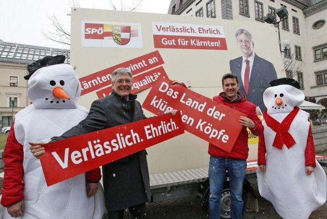 Doe SPÖ präsentierte ihre Mitmachplakate und die Fotobox vor der Kärnten-Wahl.