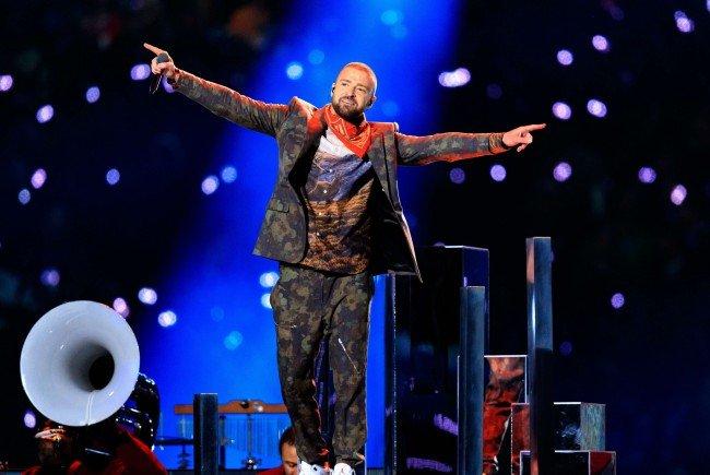 In der Halbzeitshow heizte Justin Timberlake dem Publikum ordentlich ein.