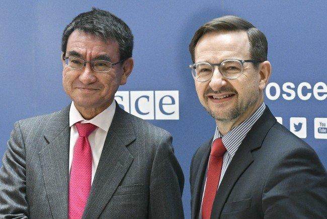 Japans Außenminister Kono will die Zusammenarbeit mit der OSZE vertiefen.