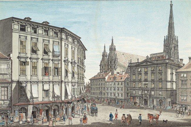Die Aquarelle zeigen auch Ansichten Wiens.