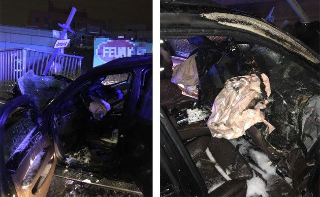 Das Auto wurde bei dem Unfall in Wien-Liesing völlig zerstört.