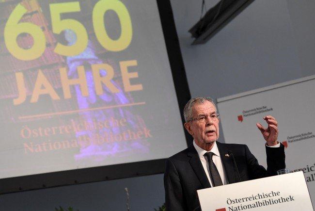 Alexander Van der Bellen trat als Gast bei der 650-Jahrfeier in der ÖNB auf.