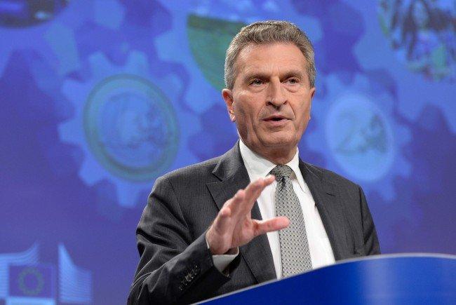 Günther Oettinger bestätigte seine Ank+ndigung von Einsparungen.