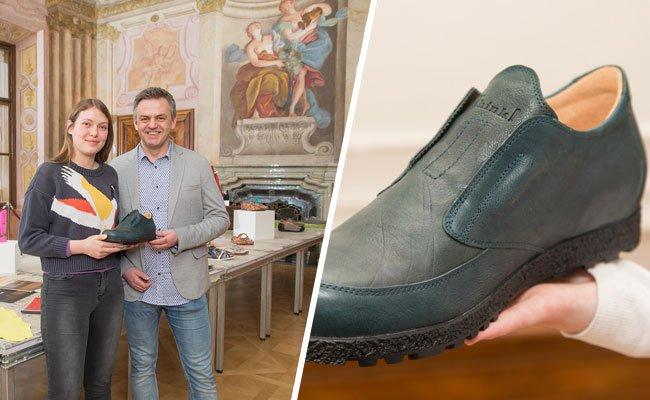 Aurelia Hammerschmidt von der Modeschule Hetzendorf hat den Schuh für Think! entworfen.