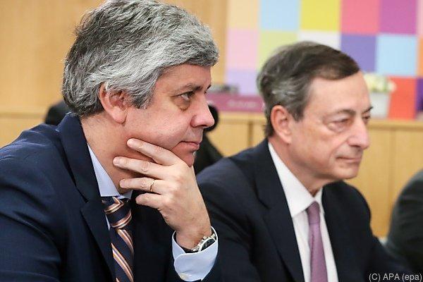 Eurogruppen-Chef Centeno und EZB-Präsident Draghi in Brüssel