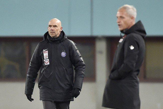 Die Trainer beim Spiel Austria Wien gegen Wolfsberger AC.