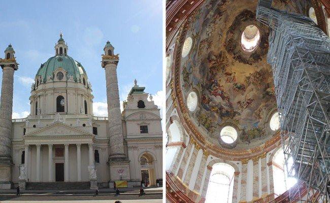 Das neue Besuchergerüst ermöglicht Ausblicke von der Karlskirche über Wien.