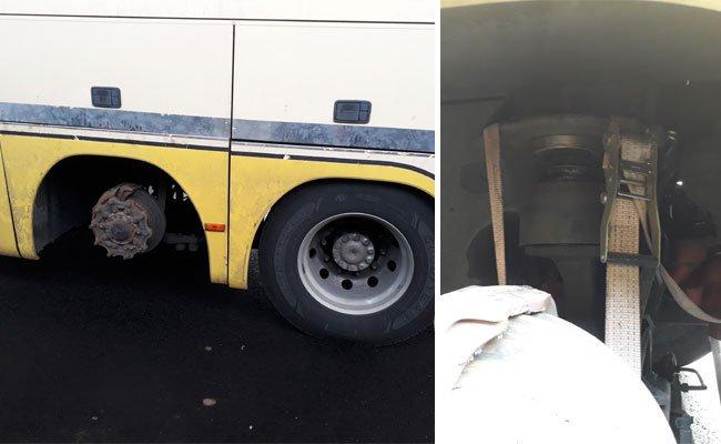 Ein Reisebus in desolatem Zustand wurde auf der A4 aus dem Verkehr gezogen.