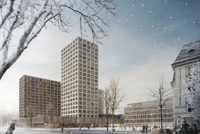 Das Siegerprojekt von WErtinvest sieht ein Hochhaus am Heumart vor.