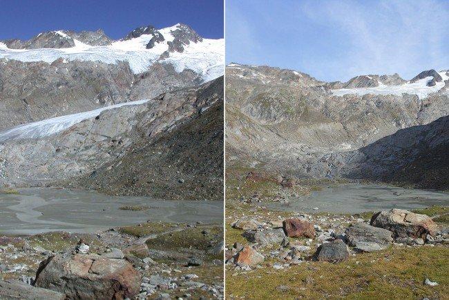 Der Umbalkees im Jahr 2006 links, und rechts im Jahr 2016.