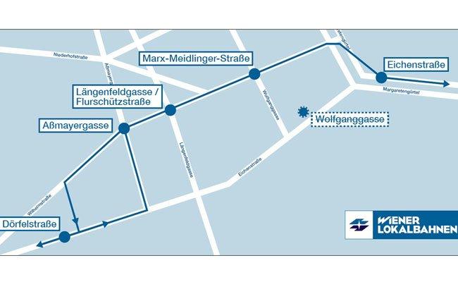 Die neue Streckenführung der Badner Bahn in Wien.