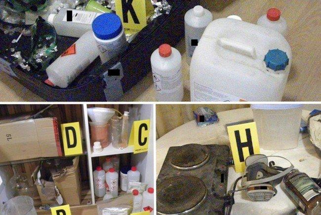Insgesamt sollen die Verdächtigen rund 1,5 Kilo Amphetamin hergestellt haben.