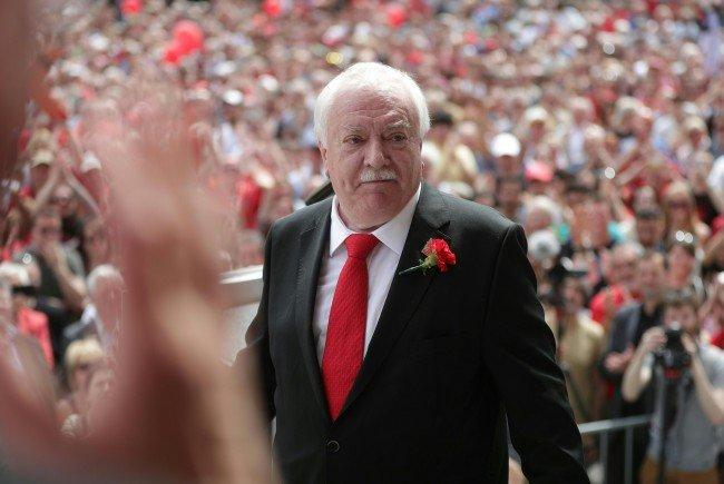 Häupl (SPÖ) verabschiedete sich bei einer Rede am 1. Mai in Wien.