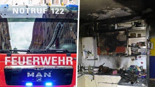 Pommes Frites lösten heftigen Küchenbrand in Wien-Hernals aus